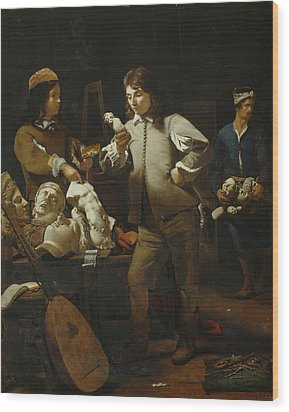In The Studio Wood Print by Michael Sweerts