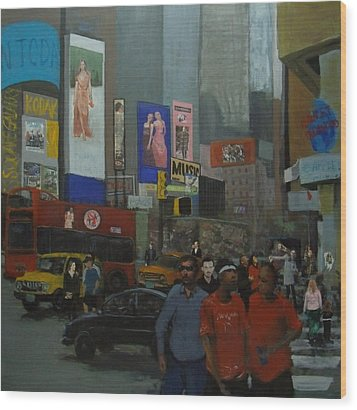 In The Time Square  Wood Print by Rahman Shakir