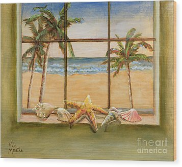 Wood Print featuring the painting In The Tropics by Vic  Mastis
