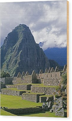 Inca Structures Stand Below Mount Wood Print by Gordon Wiltsie