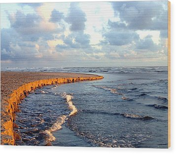 Incoming Tide At Sundown Wood Print by Will Borden
