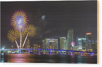Independece Day Fireworks Wood Print by Claudia Domenig