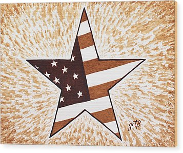 Independence Day Star Usa Flag Coffee Painting Wood Print by Georgeta  Blanaru