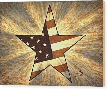 Independence Day Stary American Flag Wood Print by Georgeta  Blanaru