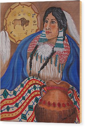 Indian Bride Wood Print by Janna Columbus