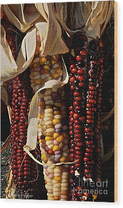 Indian Corn Wood Print by Susan Herber