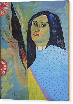 Indian Maiden Wood Print by Swabby Soileau