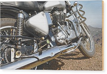 Indian Motorbike Chrome Wood Print by Kantilal Patel
