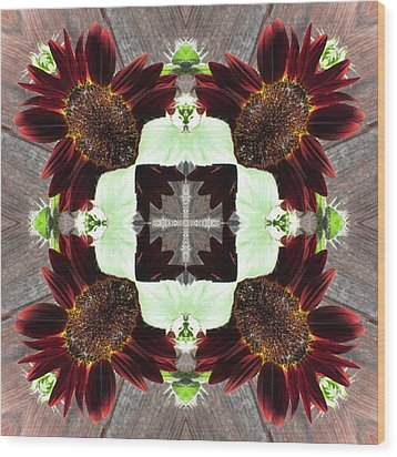 Indian Red Sunflowers Wood Print by Trina Stephenson