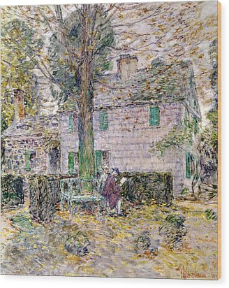 Indian Summer In Colonial Days Wood Print by Childe Hassam