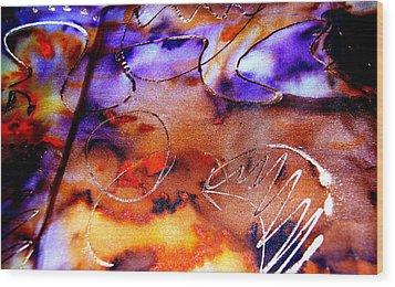 Indigo Brown Orange Yellow And Silver  Wood Print by Alexandra Jordankova