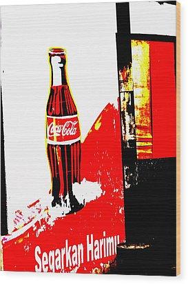 Indonesian Coke Ad Wood Print by Funkpix Photo Hunter