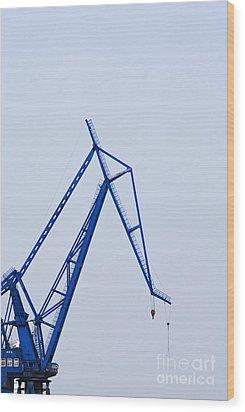 Industrial Crane Wood Print by Sam Bloomberg-rissman