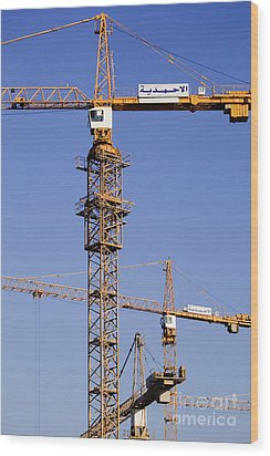 Industrial Cranes Wood Print by Jeremy Woodhouse