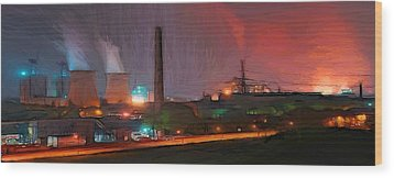 Industrial Lights Wood Print by Steve K