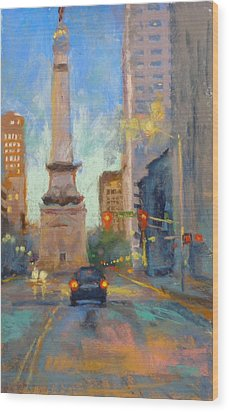 Indy Monument At Twilight Wood Print by Donna Shortt