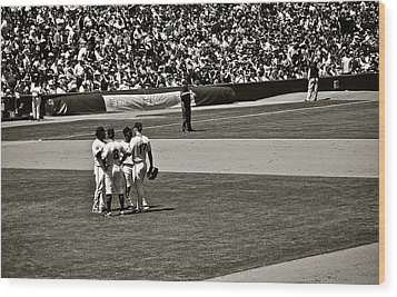 Wood Print featuring the photograph Infield Meeting by Eric Tressler