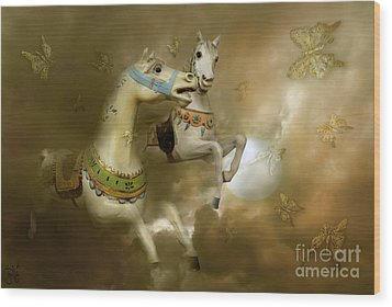 Wood Print featuring the digital art Infinity Horses And  Butterflies by Rosa Cobos