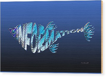 Wood Print featuring the digital art Info Fish by Asok Mukhopadhyay