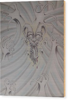 Ink And Pastel Oriental Style Dragon And Waves Wood Print by Andrew Longhi