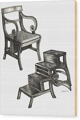 Ink Drawing Of Regency Metamorphic Chair Wood Print by Adendorff Design
