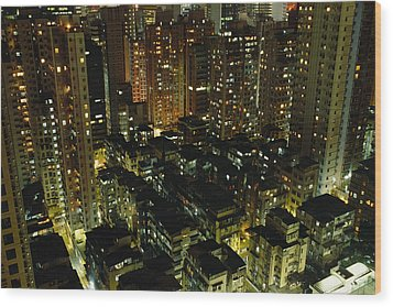 Inland View Of Sheung Wan And Central Wood Print by Justin Guariglia