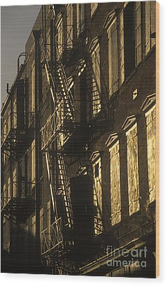 Inner City Fire Escapes Wood Print by Will & Deni McIntyre
