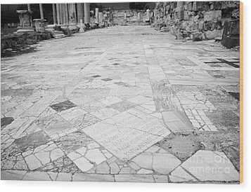 Inscription In The Floor Tile Of The Gymnasium Stoa Ancient Site Of Salamis Famagusta  Wood Print by Joe Fox