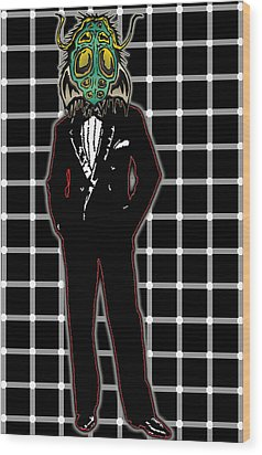 Insectoid Fashion 1 Wood Print by Travis Burns