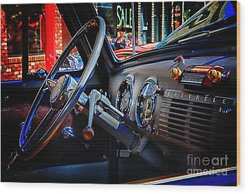 Inside Chevy Wood Print by Lori Frostad