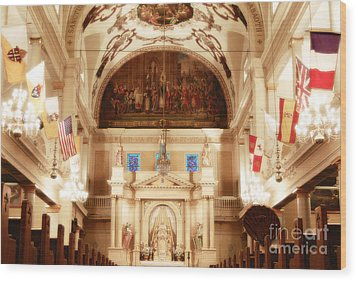 Inside St Louis Cathedral Jackson Square French Quarter New Orleans Diffuse Glow Digital Art Wood Print by Shawn O'Brien