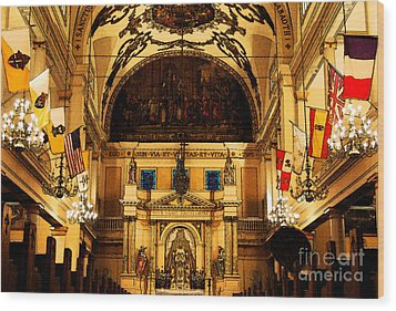 Inside St Louis Cathedral Jackson Square French Quarter New Orleans Fresco Digital Art Wood Print by Shawn O'Brien
