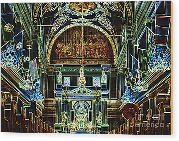 Inside St Louis Cathedral Jackson Square French Quarter New Orleans Glowing Edges Digital Art Wood Print by Shawn O'Brien