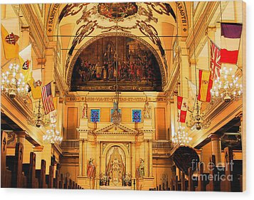 Inside St Louis Cathedral Jackson Square French Quarter New Orleans Ink Outlines Digital Art Wood Print by Shawn O'Brien