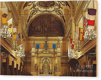 Inside St Louis Cathedral Jackson Square French Quarter New Orleans Poster Edges Digital Art Wood Print by Shawn O'Brien