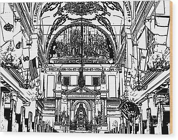 Inside St Louis Cathedral Jackson Square French Quarter New Orleans Stamp Digital Art Wood Print by Shawn O'Brien