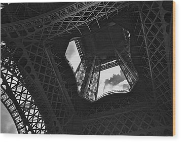 Wood Print featuring the photograph Inside The Eiffel Tower by Eric Tressler