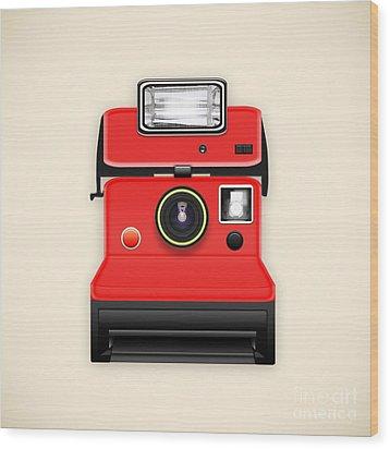 Instant Camera With A Blank Photo Wood Print by Setsiri Silapasuwanchai