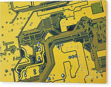 Integrated Circuit Wood Print by Carlos Caetano