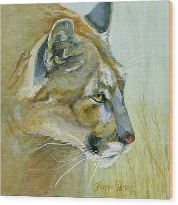 Wood Print featuring the painting Intense Cougar by Bonnie Rinier