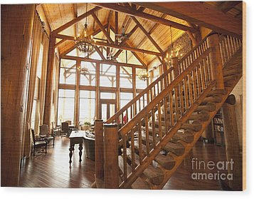Interior Of Large Wooden Lodge Wood Print by Will and Deni McIntyre