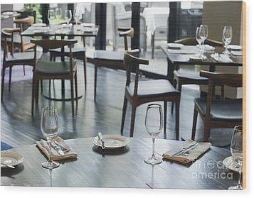 Interior Of Restaurant Wood Print by Shannon Fagan