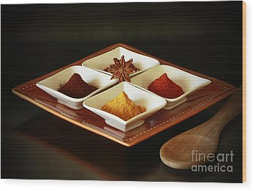 International Kitchen Spices Wood Print by Inspired Nature Photography Fine Art Photography