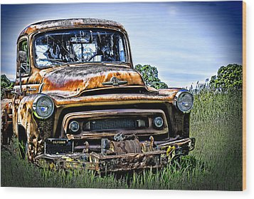 Wood Print featuring the photograph International Truck Alone And Rusting by William Havle