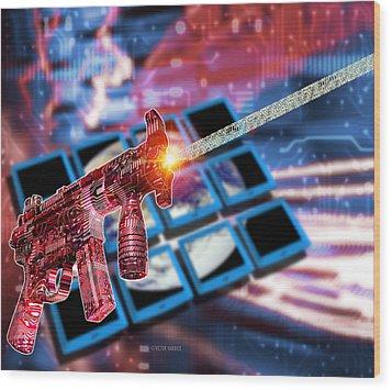 Internet Terrorism Wood Print by Victor Habbick Visions
