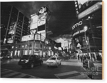 Intersection Of Yonge And Dundas At Night Yonge-dundas Square Toronto Ontario Canada Wood Print by Joe Fox