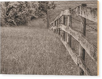 Into The Distance Bw Wood Print by JC Findley