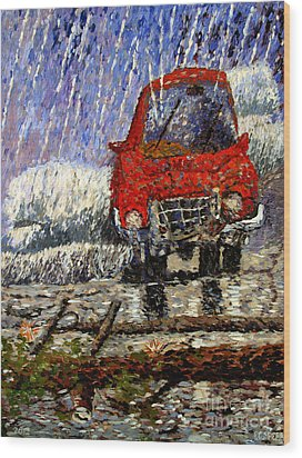 Into The Epochal Storm Wood Print by Charlie Spear