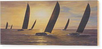Into The Sunset - Panoramic  Wood Print by Diane Romanello