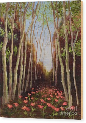 Into The Woods-poppies Wood Print by Vic  Mastis